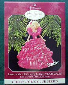 1998 1990 Happy Holidays Barbie Ornament