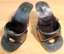 #1 Vintage Barbie Black Open Toe Shoes with holes for stand