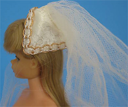 Vintage Barbie Bridal Brocade Veil