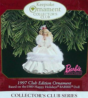 1989 Holiday Barbie Ornament