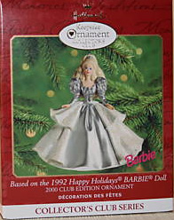 1992 Holiday Barbie Ornament