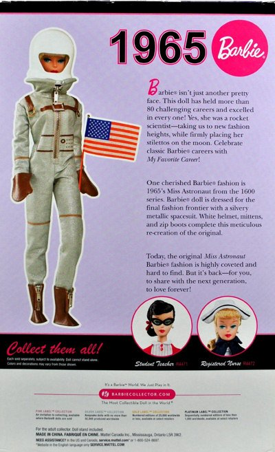 2010 Barbie Miss Astronaut Vintage Reproduction Back of Box