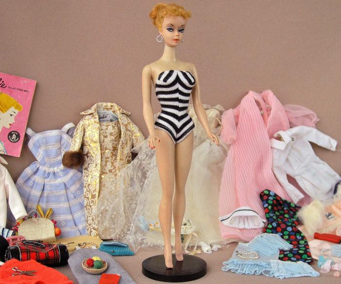 #1 1959 Vintage Barbie with stand & wardrobe