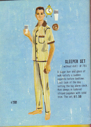 Ken's Sleeper Set as pictured in the 1962 booklet with short sleeves
