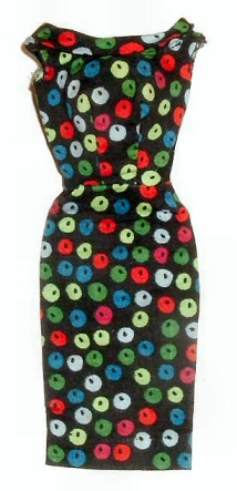 Vintage Barbie Apple Print Sheath Dress