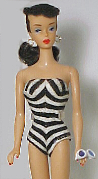 Vintage Barbie Black and White Swimsuit