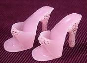 Barbie Pink Open Toe Heels With Silver Glitter
