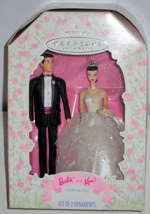 1997 Wedding Day Set with (Brunette) Ken and Barbie Ornaments