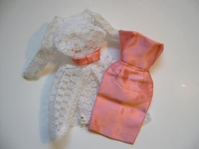 Pink Satin Dress/White lace coat