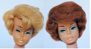 Regular Side-part Bubblecut Barbie on left, Side-part Bubblecut with American Girl face on right
