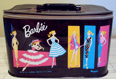 1961 Barbie Train Case picturing Barbie in Plantation Belle ensemble
