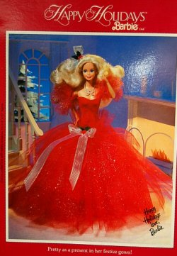 1988 Happy Holidays Barbie Back of Box