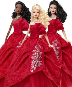 All 3 2012 Holiday Barbies - full length