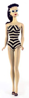 1959 Vintage Ponytail Barbie Doll in Zebra Swimsuit