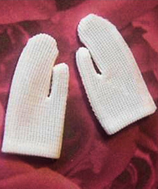 Vintage Barbie Short White Gloves