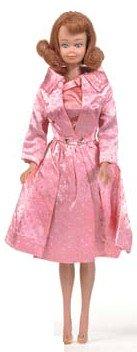 Vintage Midge Doll wearing Sparkling Pink Satin