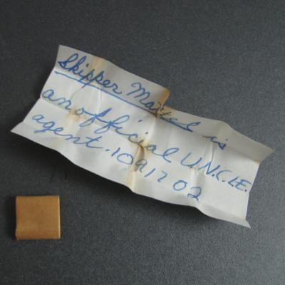 Hand written note inside packet